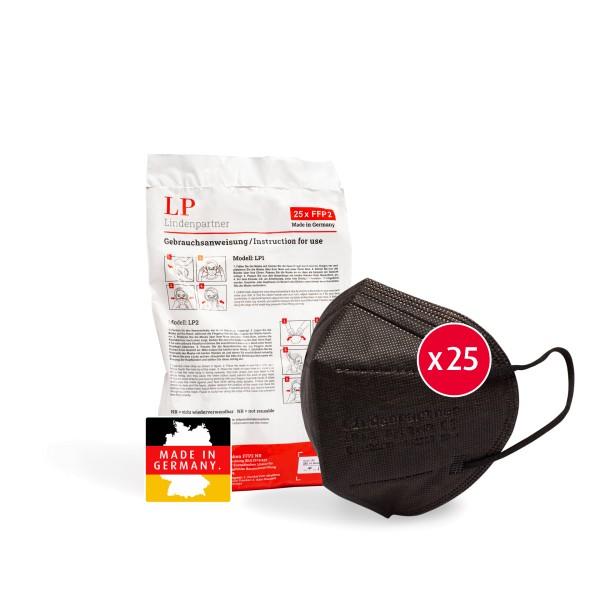 LindenPartner FFP2 Maske Schwarz   25 Stück   Made in Germany   CE-Zertifiziert