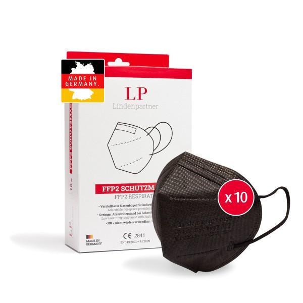 LindenPartner FFP2 Maske Schwarz   10 Stück   Made in Germany   CE-Zertifiziert