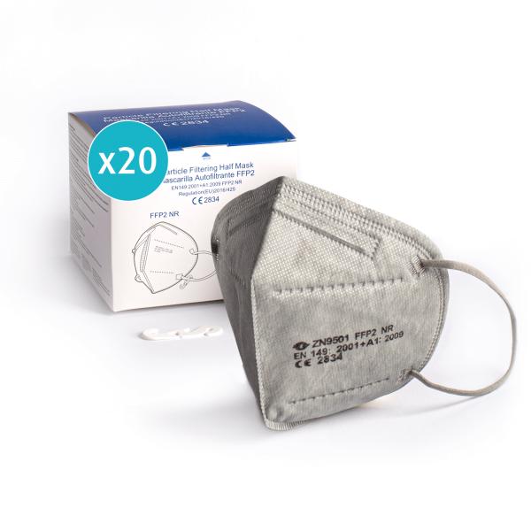 Atemschutzmaske FFP2, grau, einzeln verpackt, CE