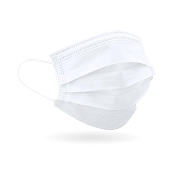 Einweg Mundschutz, 3-lagig, mit Gummizug, weiß