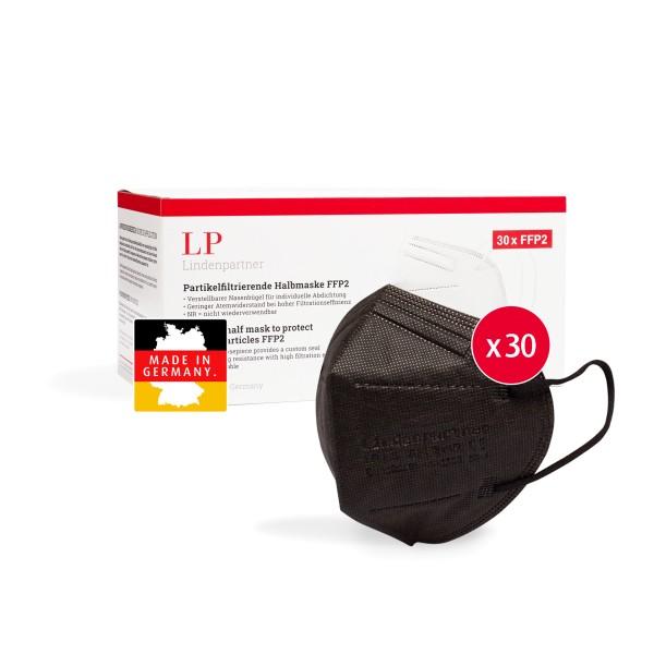 LindenPartner FFP2 Maske Schwarz | 30 Stück | Made in Germany | CE-Zertifiziert
