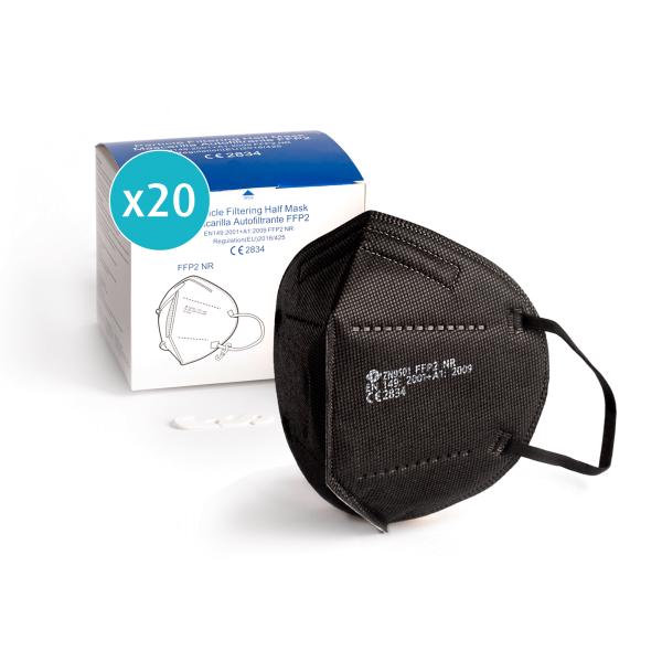 Atemschutzmaske FFP2 | Schwarz | Einzeln verpackt | CE Zertifiziert
